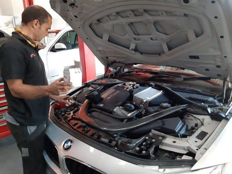 BMW M4 Undergoing Brake Fluid Flush Service at GP Motor Works