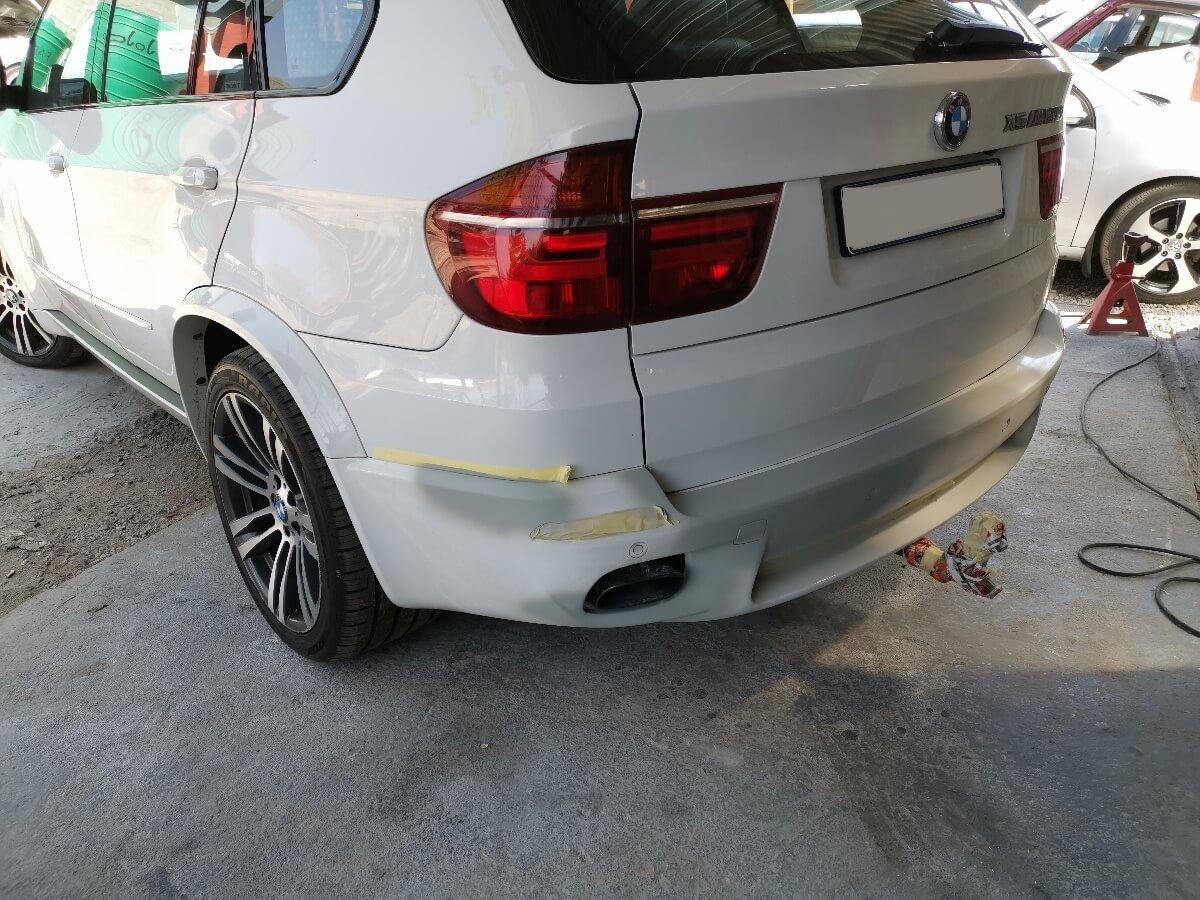 BMW X5 M50d - rear bumper repair and respray at GP Motor Works
