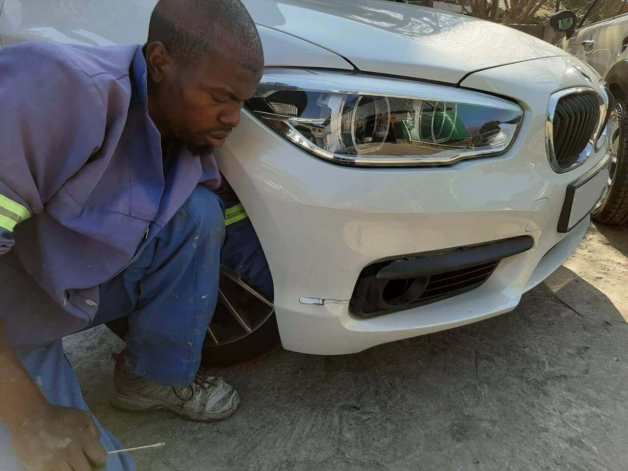 BMW - front bumper damage and repair by GP Motor Works