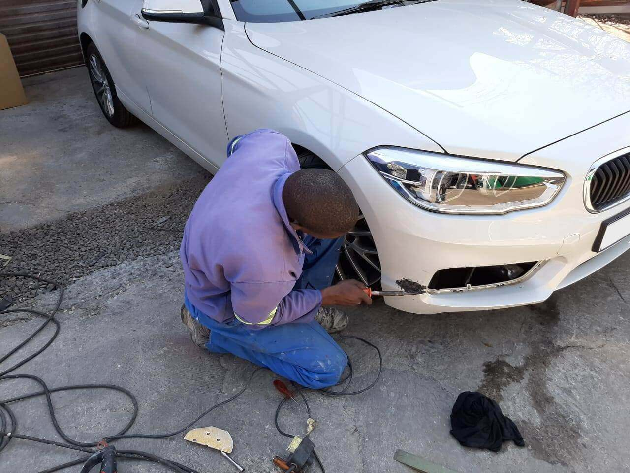 BMW - front bumper panelbeating repairs by GP Motor Works