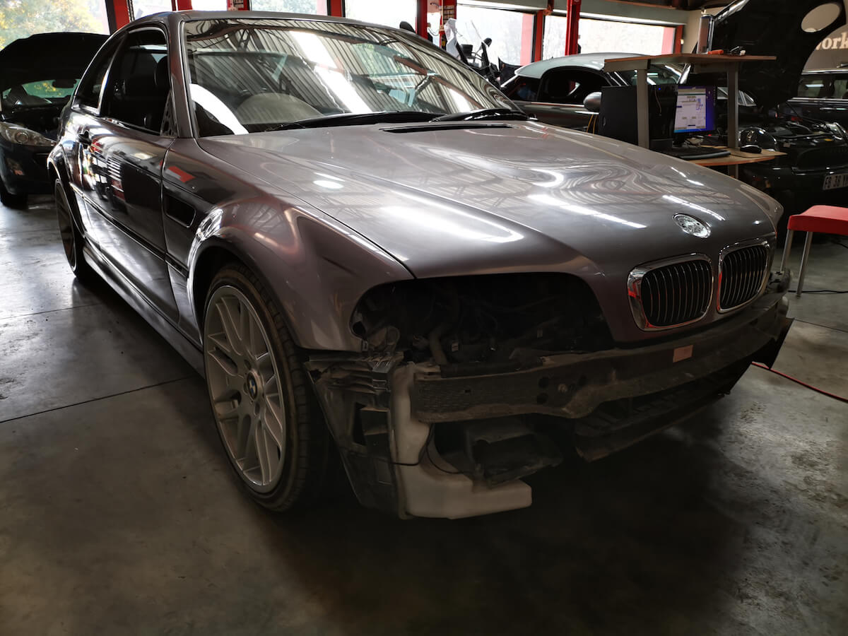 BMW E46 M3 full body respray front side view at GP Motor Works
