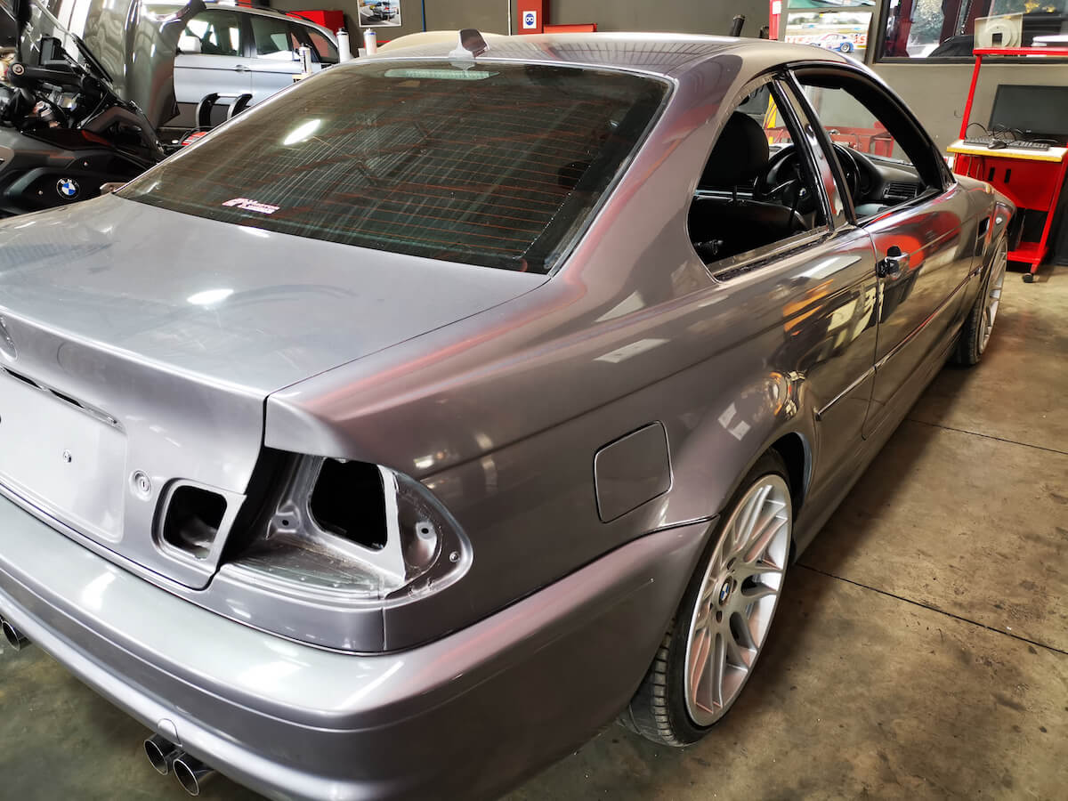 BMW E46 M3 full body respray rear side view at GP Motor Works
