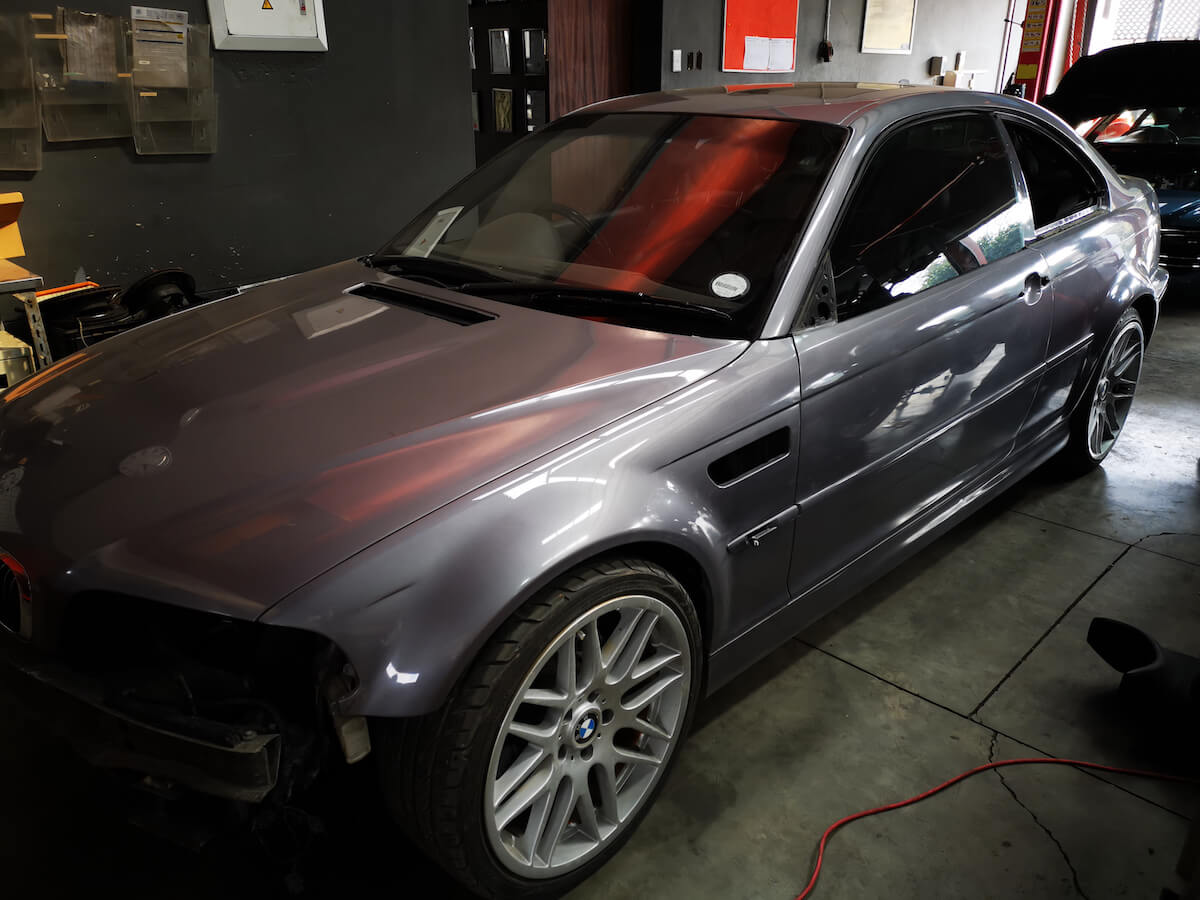 BMW E46 M3 full body respray left side view at GP Motor Works