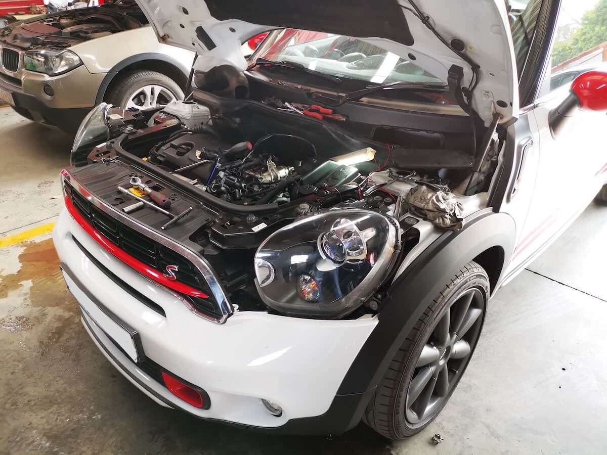 Mini Cooper S Countryman with a major water leak being diagnosed and repaired at GP Motor Works